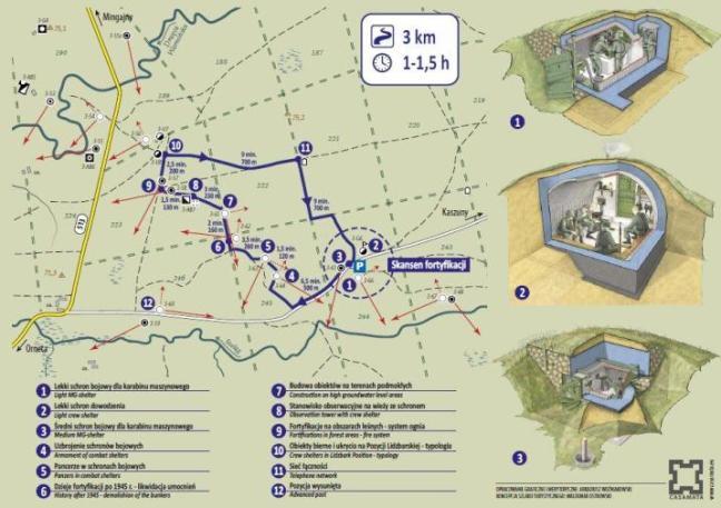 Przez Fortyfikacje Trójkąta Lidzbarskiego wiedzie interaktywny szlak turystyczny. Tablice, które tam napotkacie dokładnie wyjaśnią Wam do czego służyło dane miejsce, kto je obsługiwał. Dokładna lokalizacja na mapie pozwala poznać schemat linii umocnień